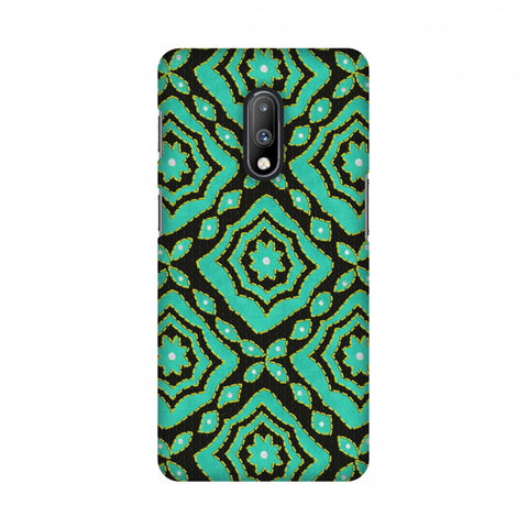 Kantha And Patchwork - Cyan Slim Hard Shell Case For OnePlus 7