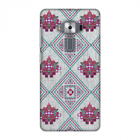 Kantha And Gujarati Mirrorwork Geometrics - Maroon And Beige Slim Hard Shell Case For Asus Zenfone 3 Deluxe ZS570KL