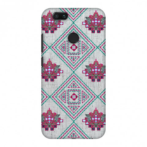 Kantha And Gujarati Mirrorwork Geometrics - Maroon And Beige Slim Hard Shell Case For Xiaomi MI A1-5X