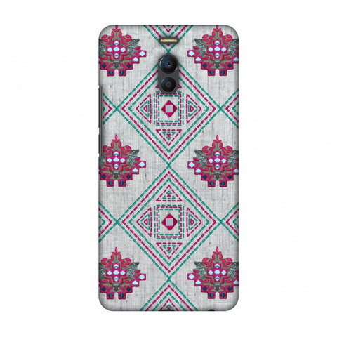 Kantha And Gujarati Mirrorwork Geometrics - Maroon And Beige Slim Hard Shell Case For Meizu Note 6