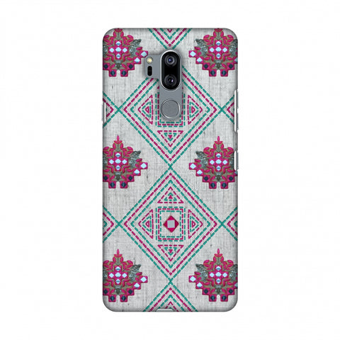 Kantha And Gujarati Mirrorwork Geometrics - Maroon And Beige Slim Hard Shell Case For LG G7 ThinQ