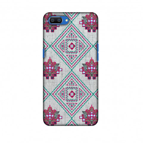 Kantha And Gujarati Mirrorwork Geometrics - Maroon And Beige Slim Hard Shell Case For Oppo Realme C1