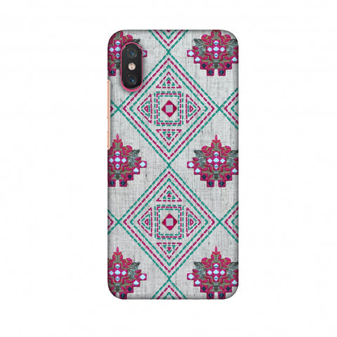 Kantha And Gujarati Mirrorwork Geometrics - Maroon And Beige Slim Hard Shell Case For Xiaomi Mi 8 Pro