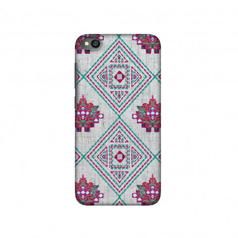Kantha And Gujarati Mirrorwork Geometrics - Maroon And Beige Slim Hard Shell Case For Redmi Go