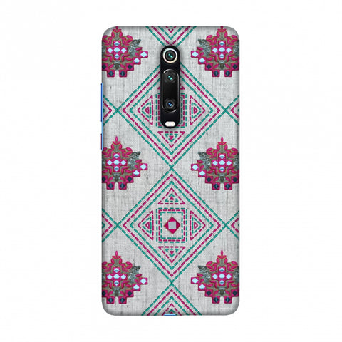 Kantha And Gujarati Mirrorwork Geometrics - Maroon And Beige Slim Hard Shell Case For Redmi K20/K20 Pro