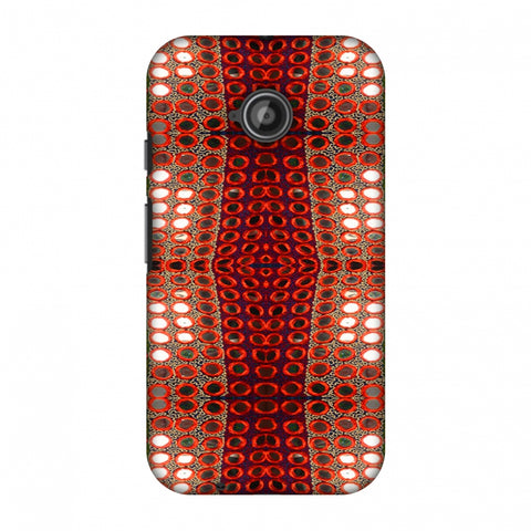 Gujarati Mirrorwork Allover - Green And Red Slim Hard Shell Case For Motorola Moto E 2nd Gen