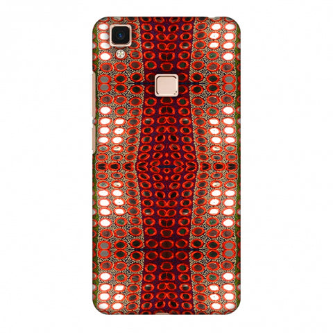 Gujarati Mirrorwork Allover - Green And Red Slim Hard Shell Case For Vivo V3 Max