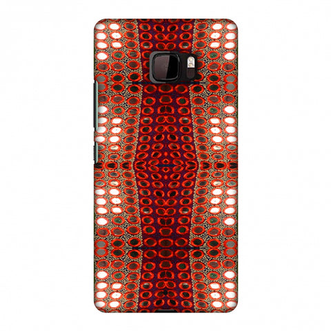 Gujarati Mirrorwork Allover - Green And Red Slim Hard Shell Case For HTC U Ultra