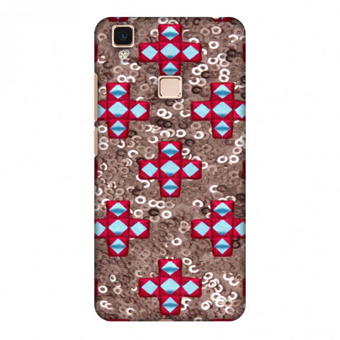 Gujarati Mirrorwork And Sequins - Copper And Red Slim Hard Shell Case For Vivo V3 Max