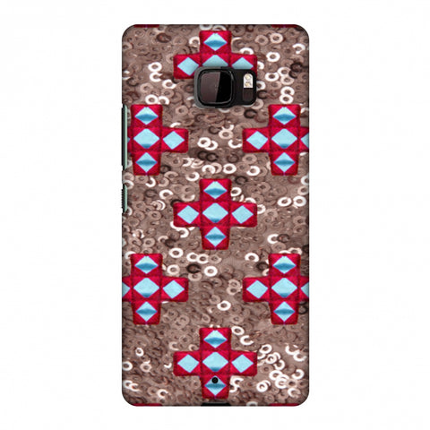 Gujarati Mirrorwork And Sequins - Copper And Red Slim Hard Shell Case For HTC U Ultra