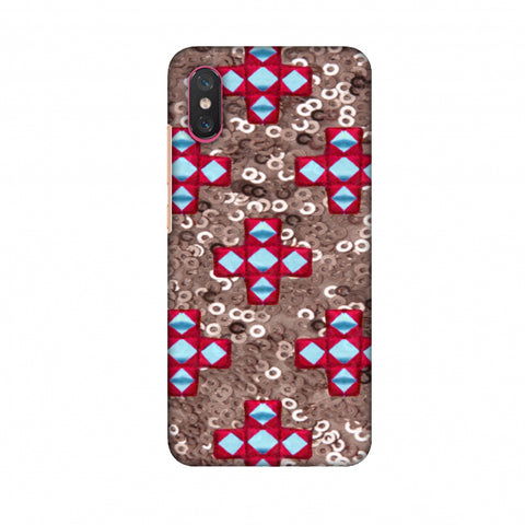 Gujarati Mirrorwork And Sequins - Copper And Red Slim Hard Shell Case For Xiaomi Mi 8 Pro
