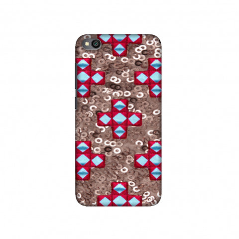 Gujarati Mirrorwork And Sequins - Copper And Red Slim Hard Shell Case For Redmi Go