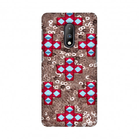 Gujarati Mirrorwork And Sequins - Copper And Red Slim Hard Shell Case For OnePlus 7