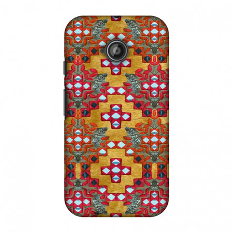 Gujarati Mirrorwork Geometric Florals - Mustard Slim Hard Shell Case For Motorola Moto E 2nd Gen