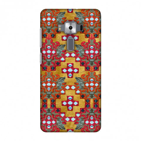 Gujarati Mirrorwork Geometric Florals - Mustard Slim Hard Shell Case For Asus Zenfone 3 Deluxe ZS570KL