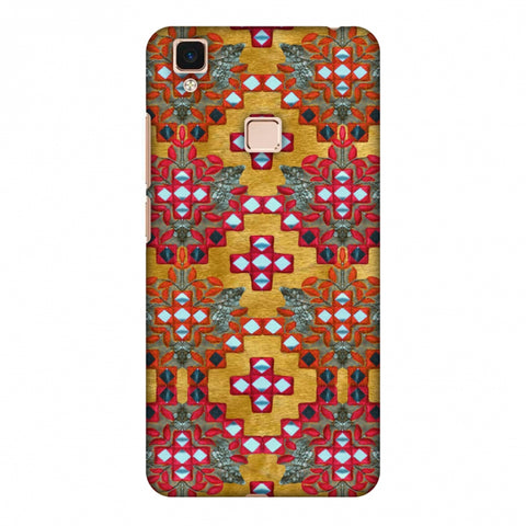 Gujarati Mirrorwork Geometric Florals - Mustard Slim Hard Shell Case For Vivo V3 Max