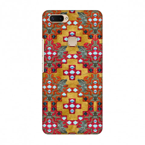 Gujarati Mirrorwork Geometric Florals - Mustard Slim Hard Shell Case For Vivo X20 Plus