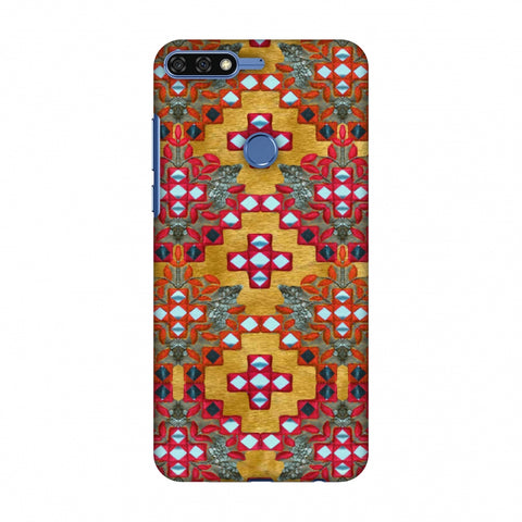 Gujarati Mirrorwork Geometric Florals - Mustard Slim Hard Shell Case For Huawei Honor 7C