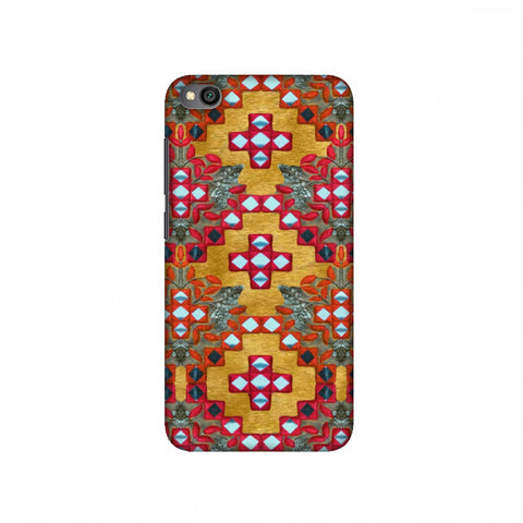 Gujarati Mirrorwork Geometric Florals - Mustard Slim Hard Shell Case For Redmi Go