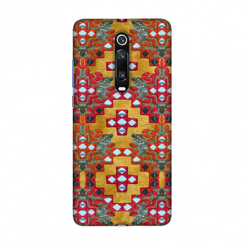Gujarati Mirrorwork Geometric Florals - Mustard Slim Hard Shell Case For Redmi K20/K20 Pro