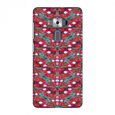Gujarati Mirrorwork Geometric Florals - Red And Silver Slim Hard Shell Case For Asus Zenfone 3 Deluxe ZS570KL