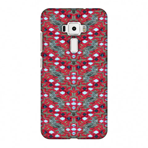 Gujarati Mirrorwork Geometric Florals - Red And Silver Slim Hard Shell Case For Asus Zenfone 3 ZE520KL