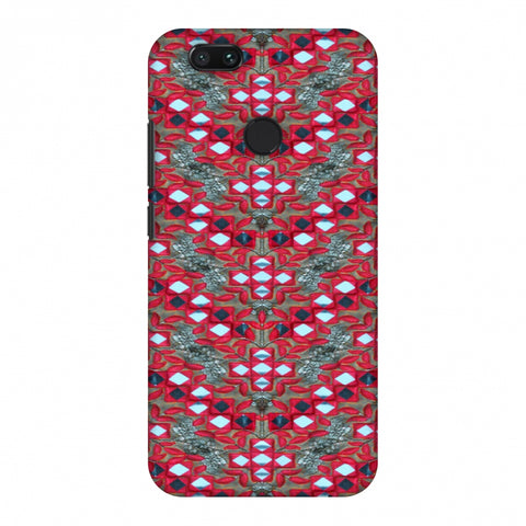 Gujarati Mirrorwork Geometric Florals - Red And Silver Slim Hard Shell Case For Xiaomi MI A1-5X