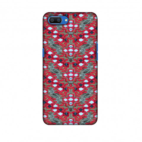 Gujarati Mirrorwork Geometric Florals - Red And Silver Slim Hard Shell Case For Oppo Realme C1