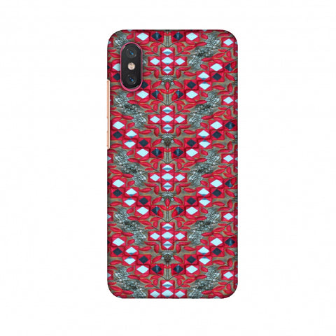 Gujarati Mirrorwork Geometric Florals - Red And Silver Slim Hard Shell Case For Xiaomi Mi 8 Pro