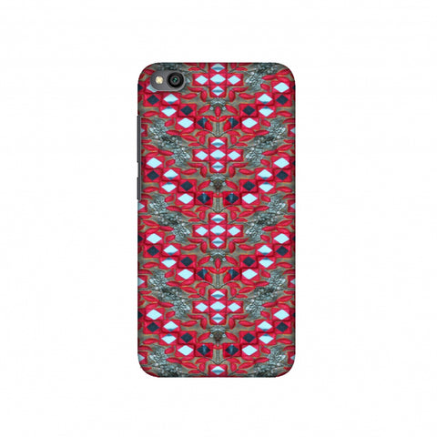 Gujarati Mirrorwork Geometric Florals - Red And Silver Slim Hard Shell Case For Redmi Go