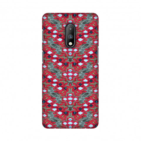 Gujarati Mirrorwork Geometric Florals - Red And Silver Slim Hard Shell Case For OnePlus 7