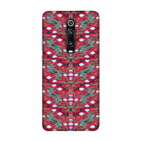 Gujarati Mirrorwork Geometric Florals - Red And Silver Slim Hard Shell Case For Redmi K20/K20 Pro