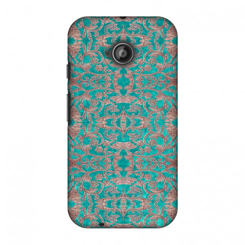 Patchwork And Sequins - Teal Slim Hard Shell Case For Motorola Moto E 2nd Gen