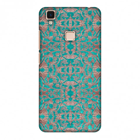 Patchwork And Sequins - Teal Slim Hard Shell Case For Vivo V3 Max
