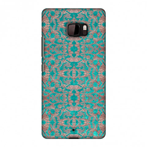 Patchwork And Sequins - Teal Slim Hard Shell Case For HTC U Ultra
