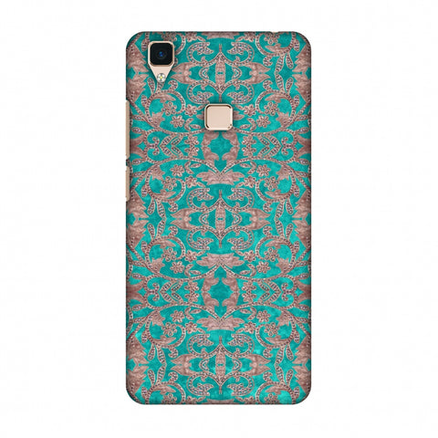 Patchwork And Sequins - Teal Slim Hard Shell Case For Vivo V3