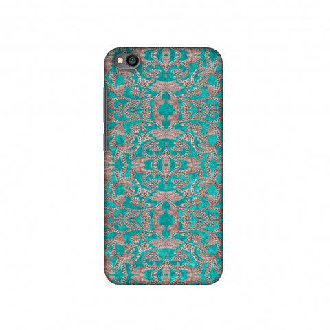 Patchwork And Sequins - Teal Slim Hard Shell Case For Redmi Go