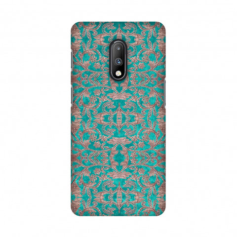 Patchwork And Sequins - Teal Slim Hard Shell Case For OnePlus 7