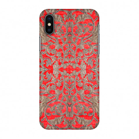 Patchwork And Sequins - Red Slim Hard Shell Case For Apple iPhone X