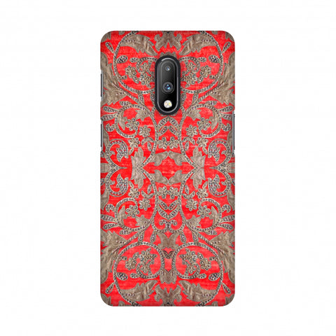 Patchwork And Sequins - Red Slim Hard Shell Case For OnePlus 7