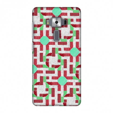 Geometric Phulkari - Maroon And Green Slim Hard Shell Case For Asus Zenfone 3 Deluxe ZS570KL