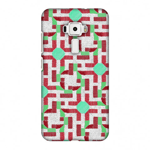 Geometric Phulkari - Maroon And Green Slim Hard Shell Case For Asus Zenfone 3 ZE520KL