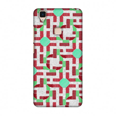 Geometric Phulkari - Maroon And Green Slim Hard Shell Case For Vivo V3