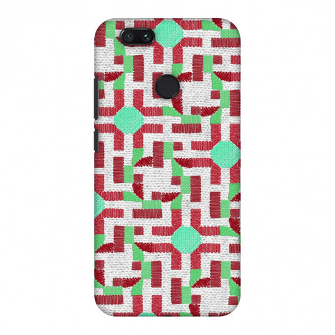 Geometric Phulkari - Maroon And Green Slim Hard Shell Case For Xiaomi MI A1-5X