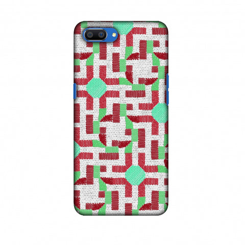 Geometric Phulkari - Maroon And Green Slim Hard Shell Case For Oppo Realme C1