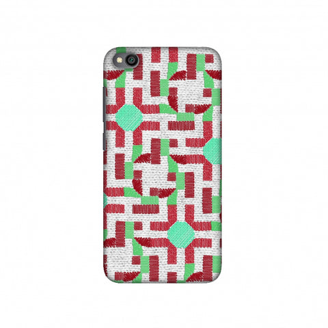 Geometric Phulkari - Maroon And Green Slim Hard Shell Case For Redmi Go