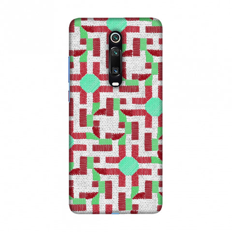 Geometric Phulkari - Maroon And Green Slim Hard Shell Case For Redmi K20/K20 Pro