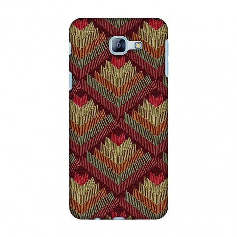 Phulkari Pattern Ascends - Rust Maroon Slim Hard Shell Case For Samsung Galaxy A8 2016