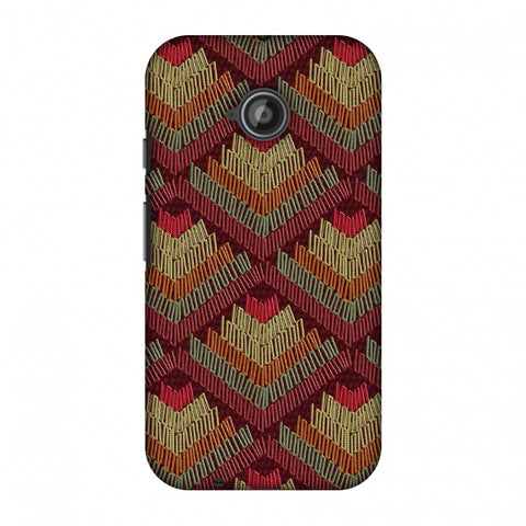 Phulkari Pattern Ascends - Rust Maroon Slim Hard Shell Case For Motorola Moto E 2nd Gen