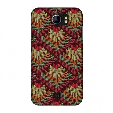 Phulkari Pattern Ascends - Rust Maroon Slim Hard Shell Case For Micromax Canvas 2 A110